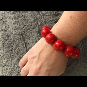 Jewelry - Large red bead bracelet